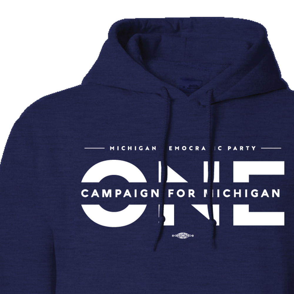 ONE Campaign For Michigan (Navy Adult Hooded Pullover Fleece)
