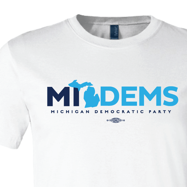"""""""MI Dems"""" logo graphic on  (White Tee)"""