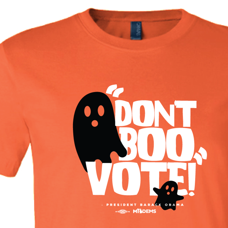"""Don't Boo, Vote!"" graphic on (Orange Tee)"