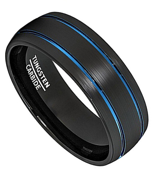 8mm Uni Or Men S Tungsten Carbide Wedding Ring Band Duo Tone Black And