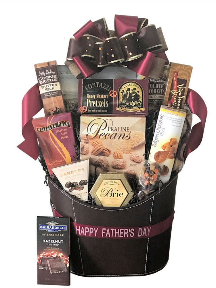 This elegant leatherette container makes a great magazine basket after the goodies are devoured! Includes a large gift box of praline pecans from Georgia, classic chocolate chip cookies, biscotti, chocolate cookies, European style coffee, cheese, crackers, butter cookies, dried fruit, Ghirardelli dark chocolate, chocolate sea salt caramels and honey mustard pretzels.