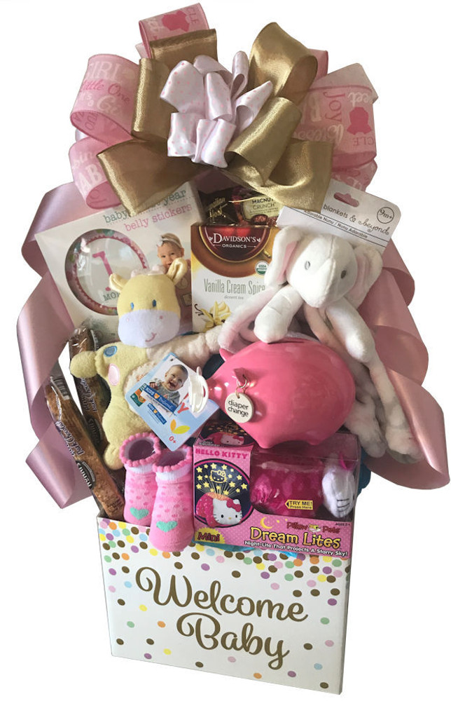 "An adorable ""Welcome Baby"" gift box that makes a cute organizer in the nursery, filled with an assortment of baby gift items, tea, and chocolate . Note: Specify in notes if it is a Baby Girl or Baby Boy A few of the baby items include pink or blue piggy bank called ""Diaper Change"", booties, first blanket, rattle, 1st month to 12th month belly stickers for photography, plush animal, and more. Items of equal or greater value may be substituted depending on availability."