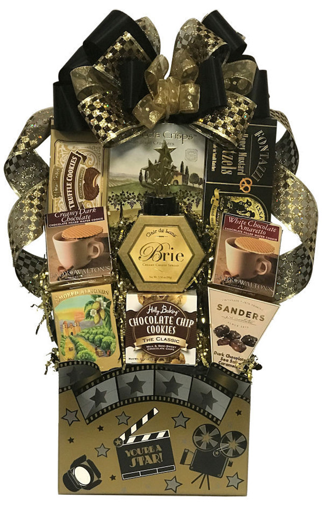 A movie theme gift box filled with a sweet and savory assortment of gourmet goodies and elegantly presented to make any boss feel special!  A personalized ribbon banner can be added at no charge (request in note section)