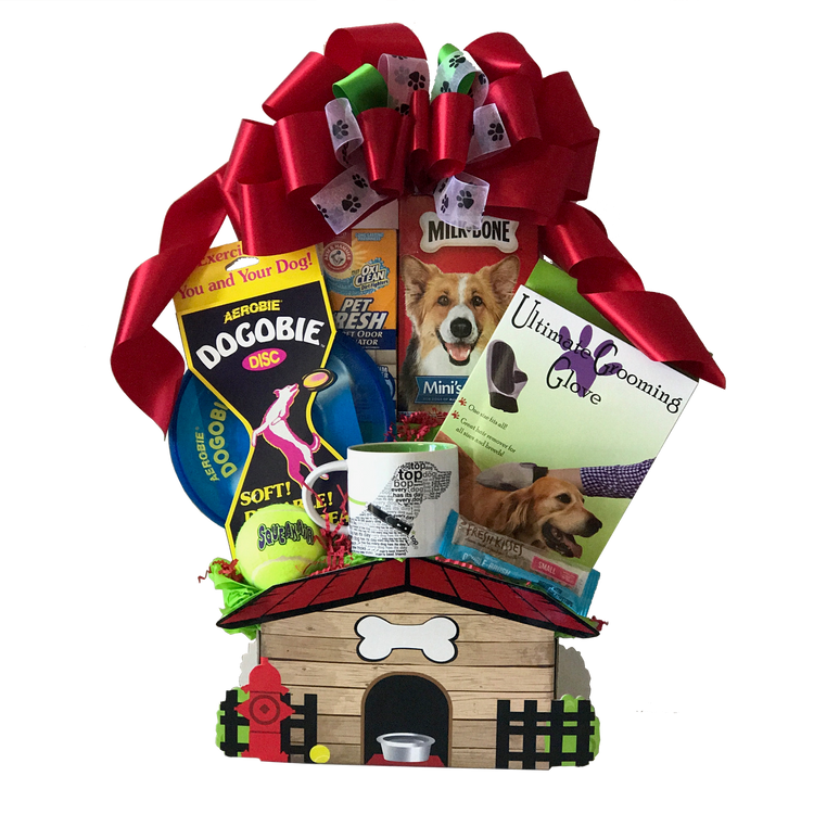 This adorable doghouse-design gift box contains an abundance of goodies for your canine companions.  Included are a dog-themed mug, the Ultimate Grooming Glove (as seen on TV), a ball for hours of fetching fun, the Dogobie frisbee, Pet Fresh carpet deodorizer, and assorted treats for your fur babies.  (Items of equal or greater value may be substituted, depending on availability, or discovery of great new items.)