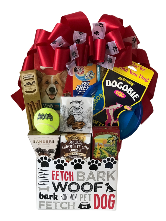 An adorable gift box, perfect for storing your best friend's toys and grooming accessories, is filled with a special, soft frisbee, dog treats, carpet freshener, ball, and some treats for the dog to give its human.  (Items of equal or greater value may be substituted, depending on availability, or discovery of great new items.)