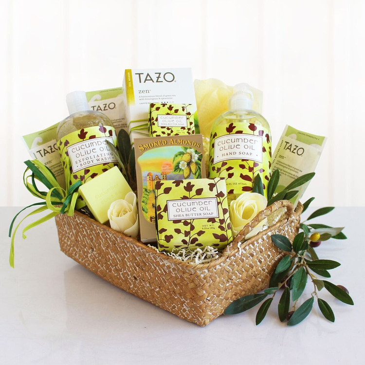 All natural spa and tea basket with Cucumber Olive Oil Shea Butter Soap, Hand Soap, Body Wash, Loofah and Tea.