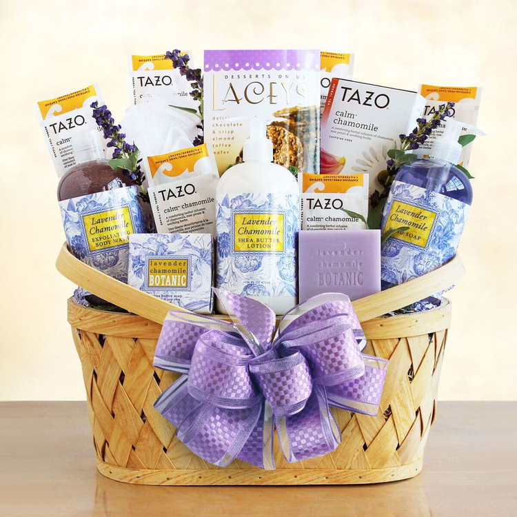Take time off to relax with this lovely Lavender Chamomile spa basket. Also helps promote a restful night's sleep. includes Lavender Chamomile lotion, body wash, hand soap, teas and cookies.
