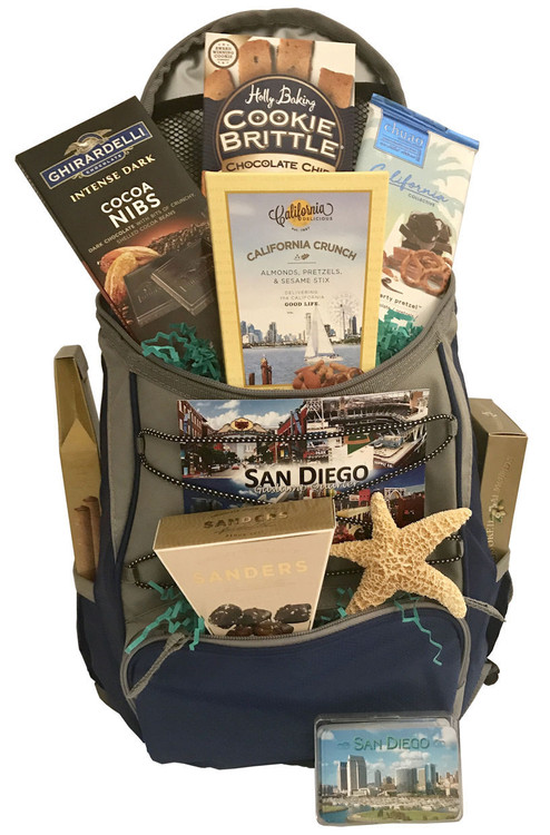 This festive San Diego-themed gift is brimming with regional specialties and is presented in our most popular backpack, which is full of handy pockets and compartments, along with a hook to attach it to a golf cart. Includes California Smoked  Almonds, Snack Mix, Ghirardelli Chocolates, Chuao Chocolates, Chocolate Chip Cookies, Chocolate Sea Salt Caramels, and a real starfish.    (Items of equal or greater value may be substituted, depending on availability, or discovery of great new items.)