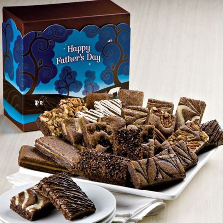 A festive Father's Day gift box filled with the most delicious, melt in your mouth, freshly baked brownies on the planet! Includes 2 Caramel, 2 Chocolate Chip, 2 Coconut, 2 Mint Chocolate, 2 Original, 2 Pecan, 2 Raspberry Swirl , 2 Toffee Crunch, 2 Walnut, 2 White Chocolate, 2 Espresso Nib, 2 Cream Cheese.  NOTE: Sugar Free brownies are available upon request and are equally delicious!  These brownies are freshly baked and shipped directly from the bakery the next business day from the day ordered. Please allow 2 to 4 business days (depending on destination) for the gift to arrive.