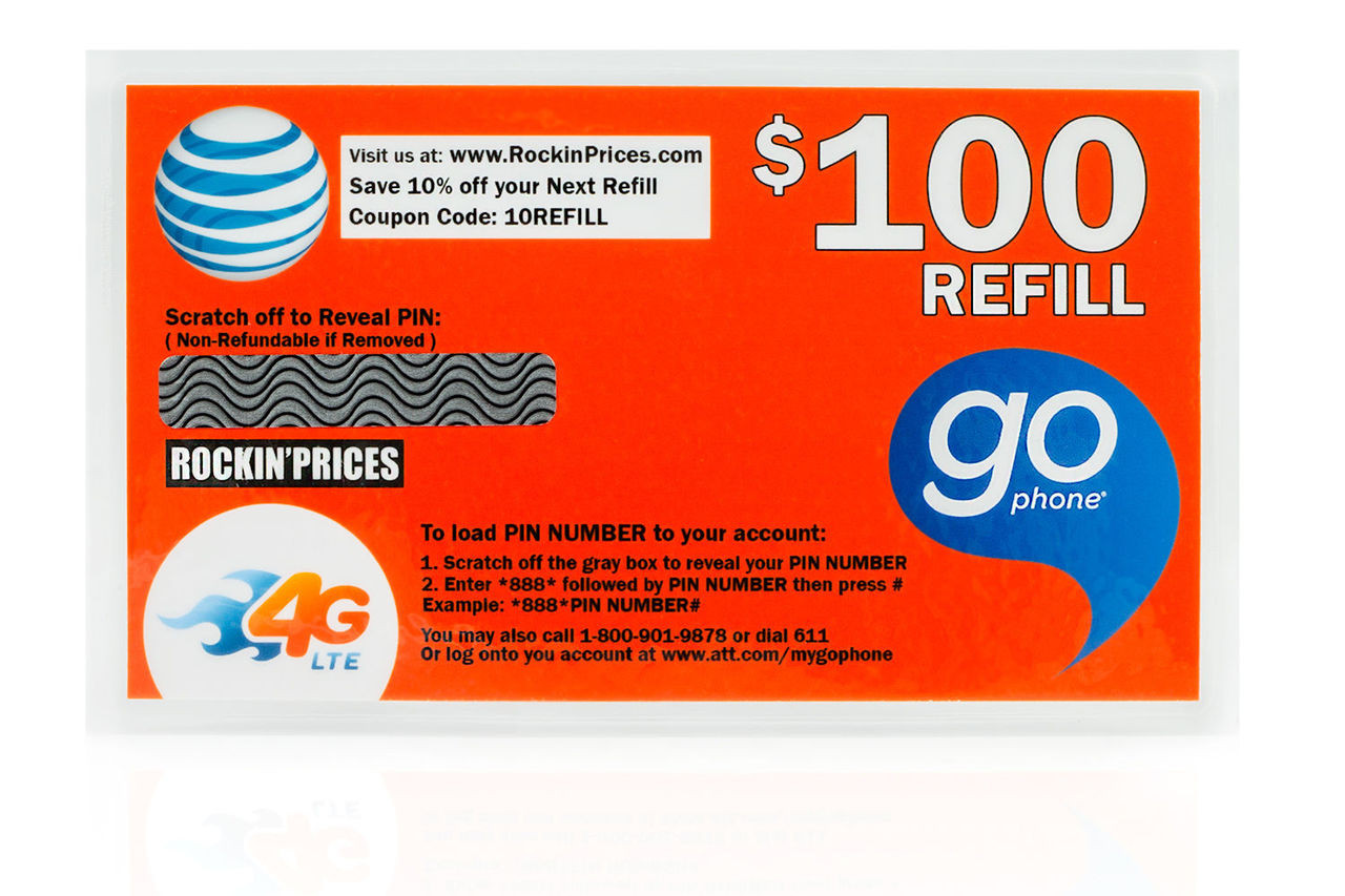 AT&T Go phone $100 Refill PIN - Refill Card - Top Up - 365 Day Expiration