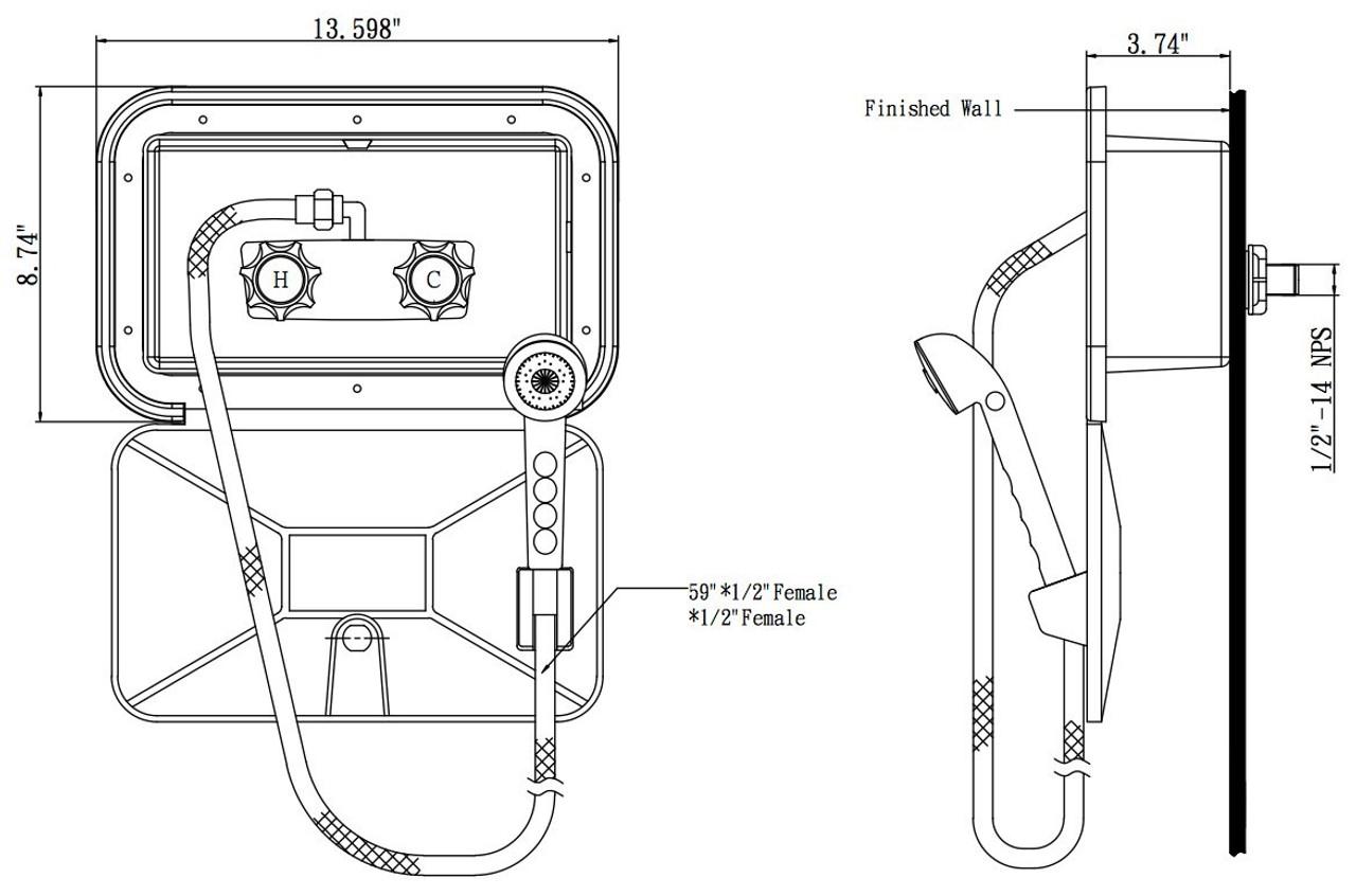 Faucet SA170-WT RV Exterior Shower Box Kit - White