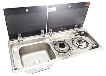 Dometic MO9722LUS Slim 2-Burner Hob / Sink Combination with Glass Lids