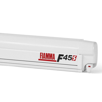 "Fiamma 06280H01DG F45S Awning 2.6m (8'8"") - Polar White Case - Deluxe Grey Fabric"