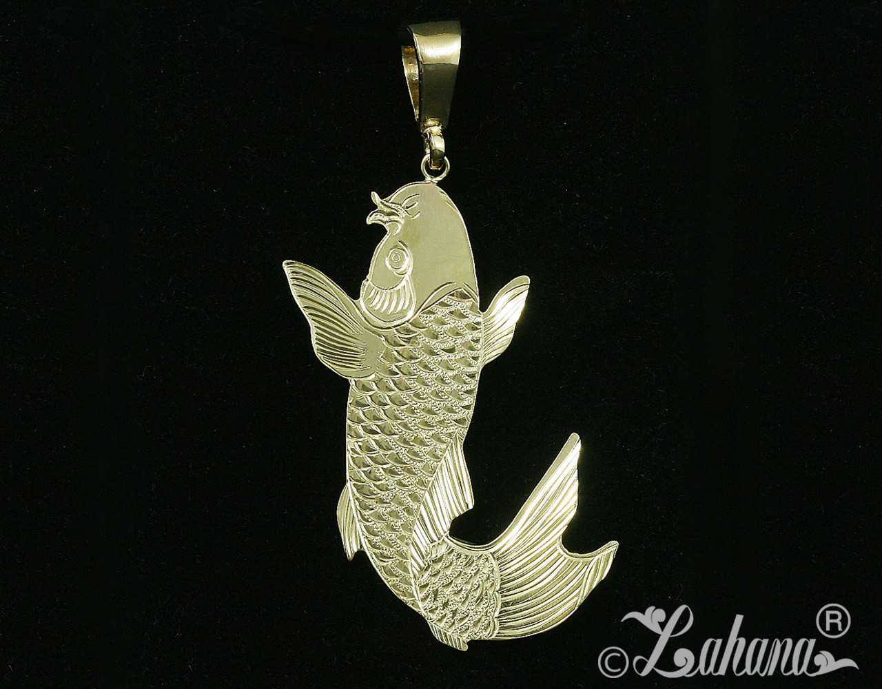 14k yellow gold 2 sided koi fish pendant koi fish carp climbing up a waterfall aloadofball Image collections
