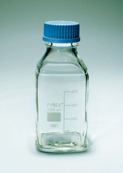 PYREX Square Screw Cap Media Bottle, Space Saving Bottle
