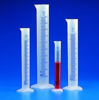 Polypropylene Measuring Cylinder, Tall Form, Blue Graduated, 50ml