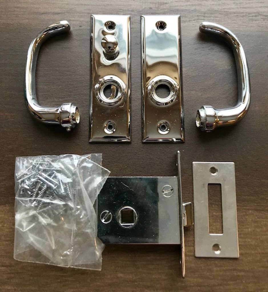 Chrome Lever & Lever Lockset - New (Missing Spindle)