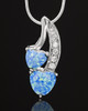 Sterling Silver Blue Treasures of the Heart Cremation Urn Pendant