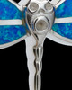 Silver Blue Delicate Dragonfly Cremation Urn Pendant