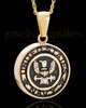 Gold Plated over Stainless Military Medallion-Navy Urn Pendant