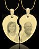 Two Half Heart Photo Engraving Keepsake Gold Plated