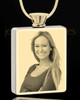 Photo Engraved Stainless Gold Plated Rectangle Cremation Pendant