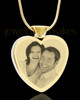Photo Engraved Heart Gold Plated on Stainless Cremation Pendant