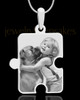 Photo Engraved Large Puzzle Pet Pendant Silver Plated