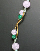 Poppy Green Pink Necklace Beads and Stainless Steel Picture Pendant