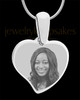 Silver Curved Heart Photo Engraved Pendant