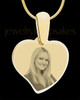 Gold Curved Heart Photo Engraved Pendant