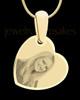 Gold Side Heart Photo Engraved Pendant