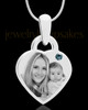 December Small Heart Stainless Photo Engraved Pendant