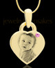 June Gold Small Photo Engraved Heart Pendant