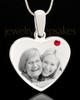July Stainless Steel Memories Heart Photo Pendant