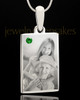 Photo Engraved May Birthstone Rectangle Pendant