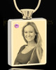 Photo Engraved June Gold Plated Rectangle Cremation Pendant