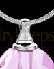 Pink Etched Sphere Glass Cremation Pendant