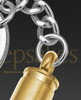 Cremation Keychain Gold Bulleted on Stainless