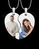 Double Full Color Photo Engraved Heart Pendant Silver