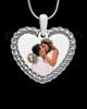 Full Color Silver Framed Heart Photo Engraved Pendant