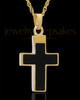 Cremation Necklace Cross with Onyx-14K Gold Plated