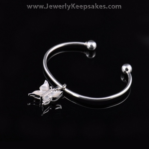 Remembrance Jewelry Bracelet Sterling Silver White Butterfly