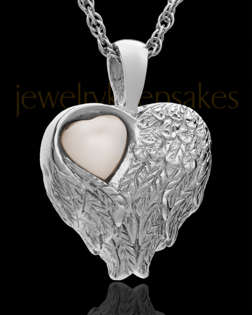 Cremation Jewelry 14k White Gold Forever Loved Heart Keepsake