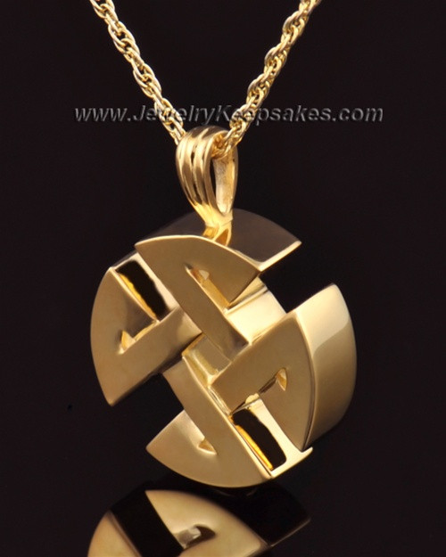 Cremation Pendant 14k Gold Celtic Round Keepsake