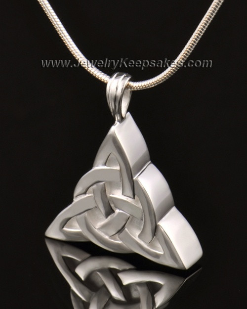 Remembrance Pendant 14k White Gold Celtic Triangle Keepsake
