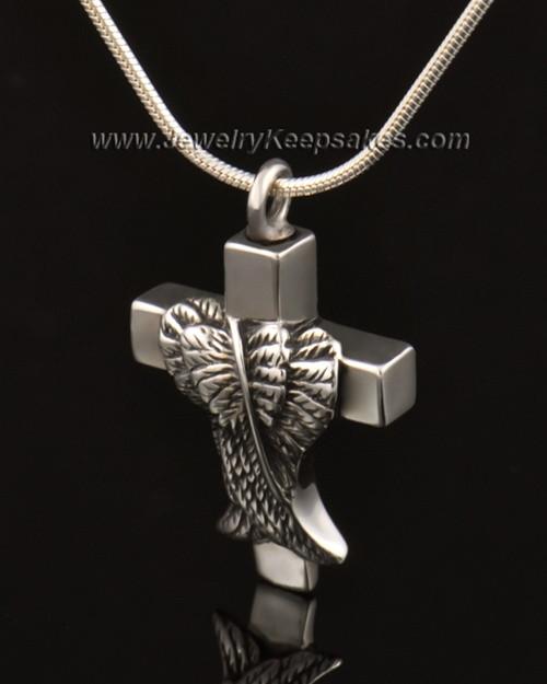 Memorial Pendant 14k White Gold Angels Cross Keepsake