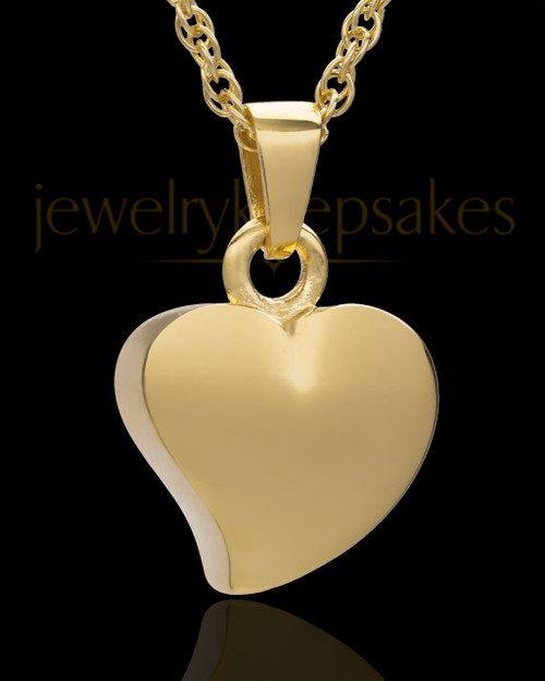 Jewelry Urn Gold Plated Mighty Heart Keepsake