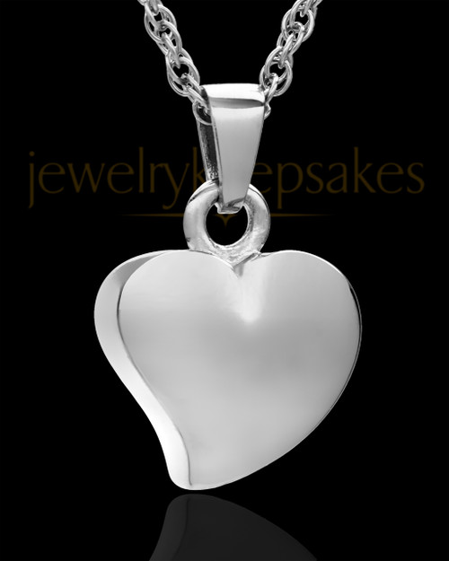 Jewelry Urn 14k White Gold Mighty Heart Keepsake