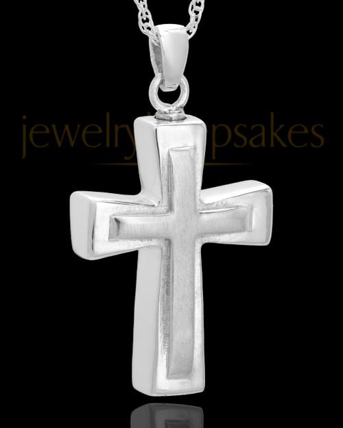 Urn Jewelry 14k White Gold Two Cross Keepsake
